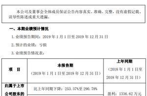 康芝药业2019年度预计亏